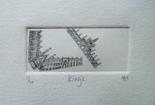 King's – drypoint print. 9cm x 4cm