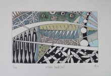 river bed (iv) – hand water coloured drypoint print.