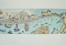 Teignmouth Back Beach - Hand water coloured limited edition drypoint print. Plate size 24cm x 7cm
