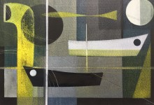 Night port. 35 x 25cm. Oil & acrylic on canvas board. Available