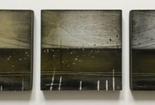 Flock – painted triptych on wood panels. 3 x 15cm. Oil and mixed media. Available at Dart Gallery Dartmouth